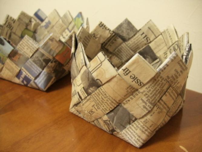 すべての折り紙 紙 折り方 : 出典: 北欧風なカゴを英字新聞 ...