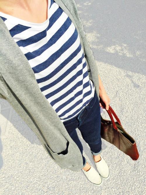 無印良品のボーダーTシャツを使ったファッションコーデ